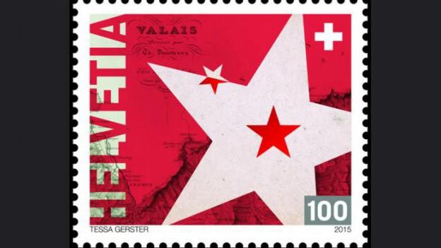Auf dem Bild ist die rote Sonderbriefmarke zu sehen, welche die Post anlässlich des 200 Jahr Jubiläums herausgegeben hat.