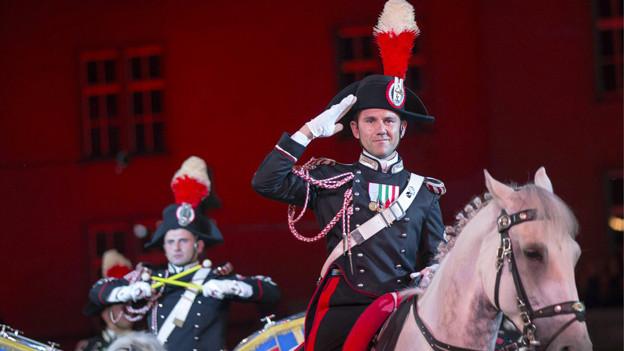Mounted Fanfare Band of the Carabinieri, Italien, an der Hauptprobe zum Basel Tattoo 2013.