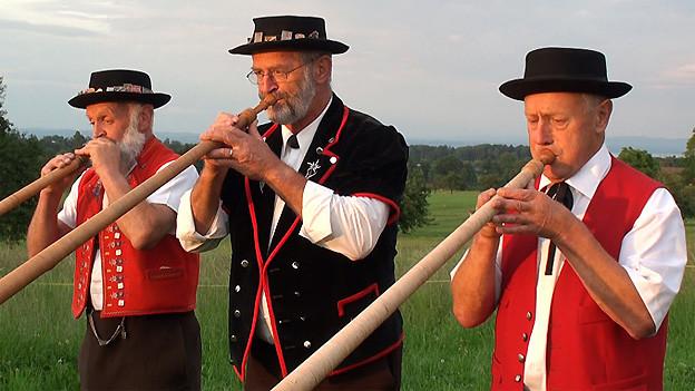 Mit von der Partie in der Livesendung aus Salenstein: Das Alphorntrio Egnach mit Sepp Manser, Roland Steinbrunner und Toni Hengartner.
