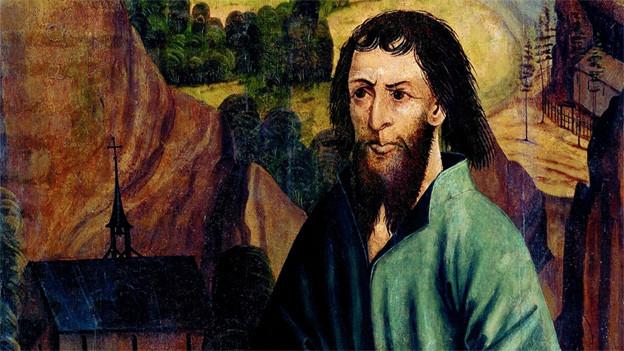 Ältestes Bild von Bruder Klaus, 1492 auf dem linken Flügel des gotischen Hochaltars der alten Kirche.