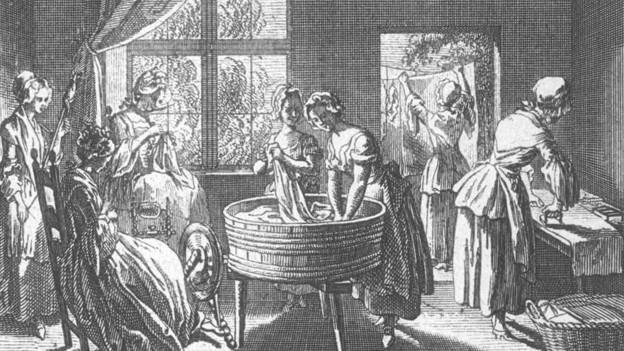 Ein Frauenzimmer aus vergangenen Zeiten: Kupferstich von Daniel Chodowiecki 1774