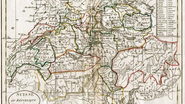 Die Helvetische Republik um 1798 auf einer antiken Karte.
