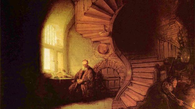 «Der Philosoph» (1633) von Rembrandt van Rijn als klischeehafte Darstellung eines Elfenbeinturms.