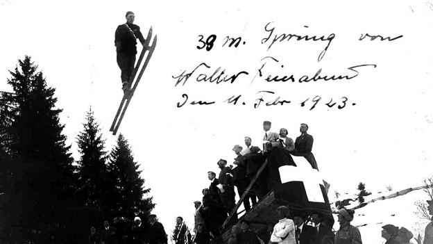 Zum Beitrag übers Skispringen anno dazumal hat uns Walter Feierabend ein Foto zugeschickt: Es zeigt seinen Vater, der am 11. Februar 1923 beim Skispringen in Engelberg eine Weite von 39 Metern erreicht hat.