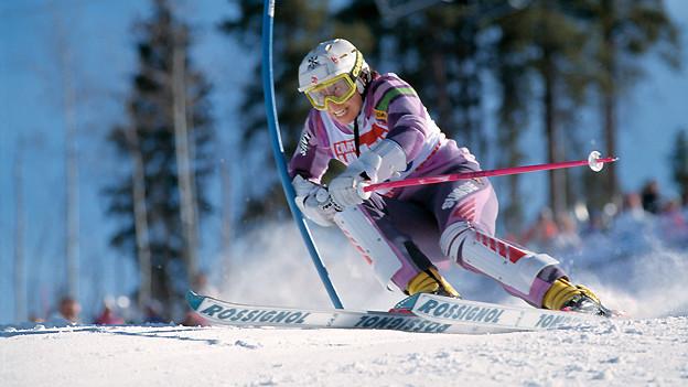 Nicht Abfahrerin sondern Slalom-Spezialisitin: Vreni Schneider fährt am 29. Januar 1989 an der Ski-WM in Vail im Kombinations-Slalom zum Sieg.