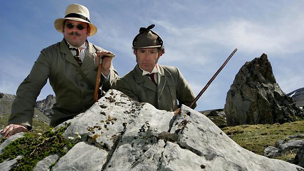 Philip Porter (rechts) als Sherlock Holmes und Charles Miller als John Watson während der Pilgerreise der Sherlock Holmes Society von 2005.