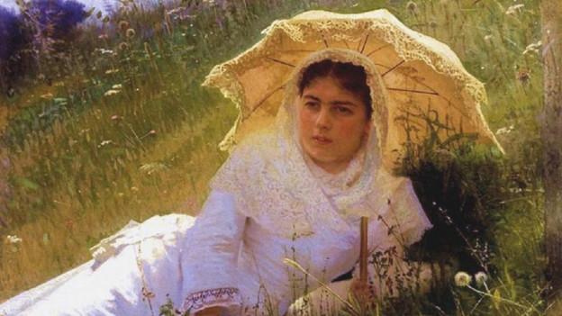 Gemälde von Ivan Kramskoi (1883). «A Woman under a parasol».