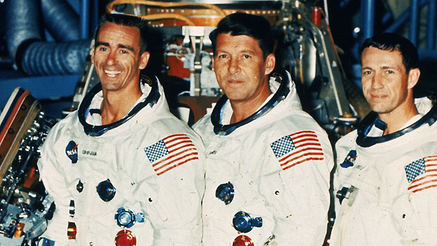 Die drei Astronauten der Apollo 7 am 11. Oktober 1968 auf dem Kennedy Space Center in Cape Canaveral: Walter Cunningham, Walter Schirra Donn Eisele (v.l.n.r.).