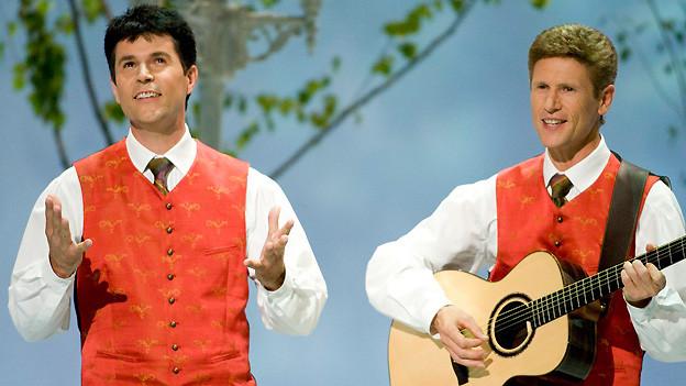 Die Südtiroler Vincent und Fernando 2008 am Grand Prix der Volksmusik mit ihrem Lied «Glaube an Gott». Ein Jahr später reichte es dem Duo dank «Der Engel von Marienberg» zum Sieg.
