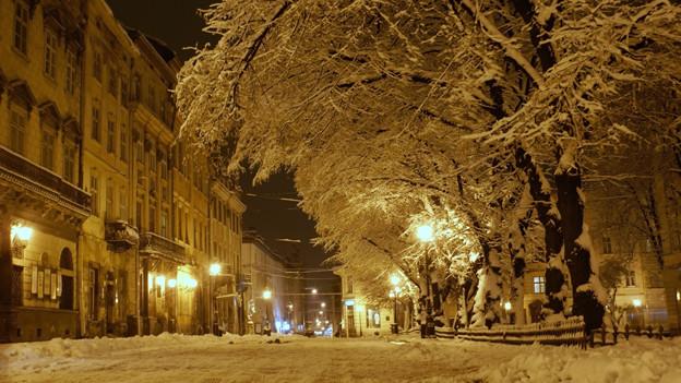 Wintermärchen in der Stadt.