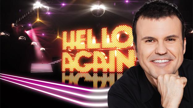 Bildcollage mit dem Logo von «Hello Again!» und einem Porträt von Joël Gilgen.