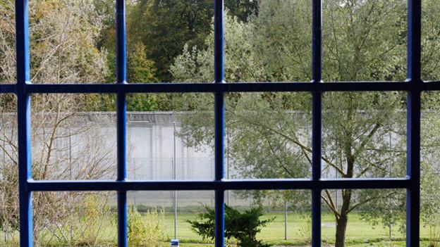 Blaue Gitterstäbe.. Draussen trostloser Hinterhof