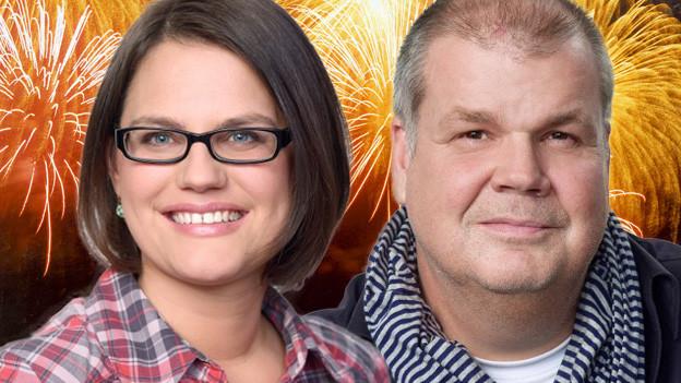 Bildcollage mit Moderatorin und Moderator vor einem grossen Feuerwerk.