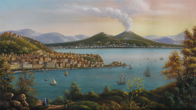 Gemälde mit dem ausbrechenden Vesuv.
