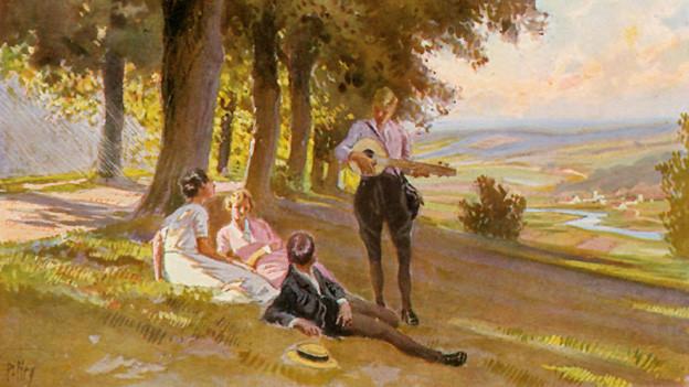 Gemalte Karte. Pärchen liegt auf sommerlicher Wiese und lauscht einem Barden mit einer Laute.