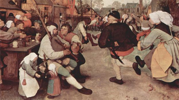 Mittellalterliches Bild mit einer Szene von einem Dorffest.