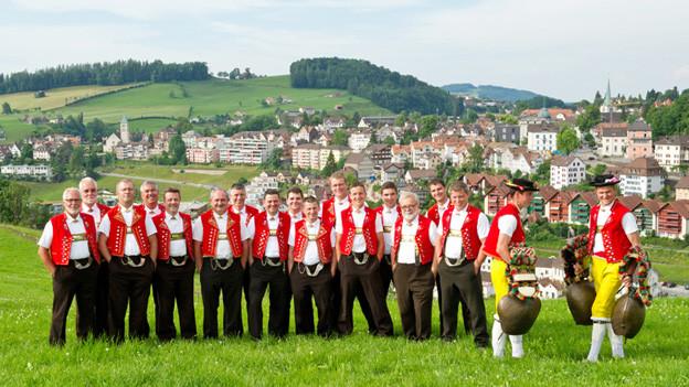 Die Jodler stehen auf Wiese im Appenzellerland bei sonnigem Wetter und tragen die typische, rote Appenzellertracht.