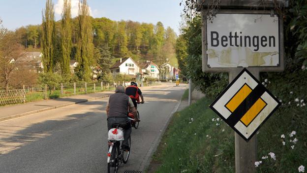 Ortsschild von Bettingen im Kanton Basel-Stadt.