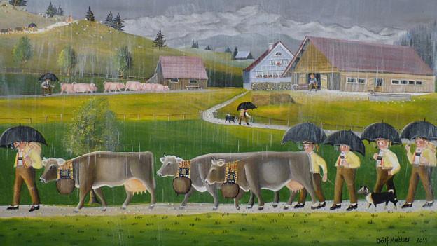Alpabzug gemalt von Dölf Mettler.