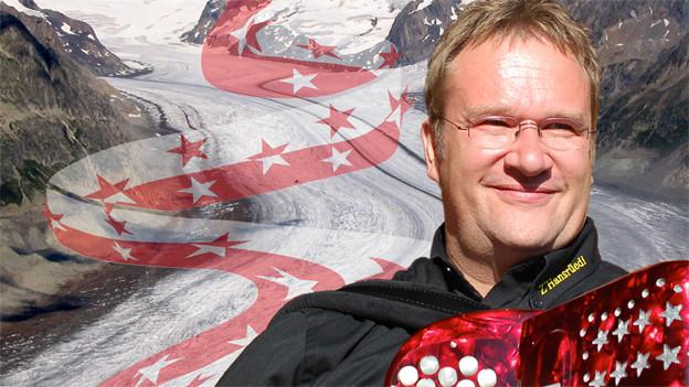 Hansrüedi Zbinden mit Akkordeon in einer Bildcollage vor dem Aletschgletscher.