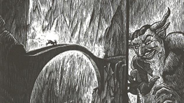 Kohlezeichnung mit Brücke und lachendem Teufel.