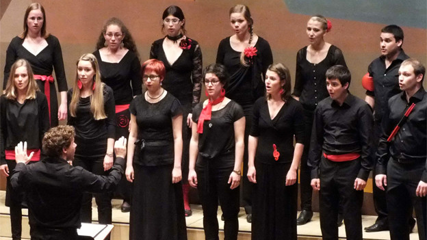 Die Sängerinnen und Sänger in schwarzer Kleidung mit roten Accessoires bei einem seiner Auftritte.