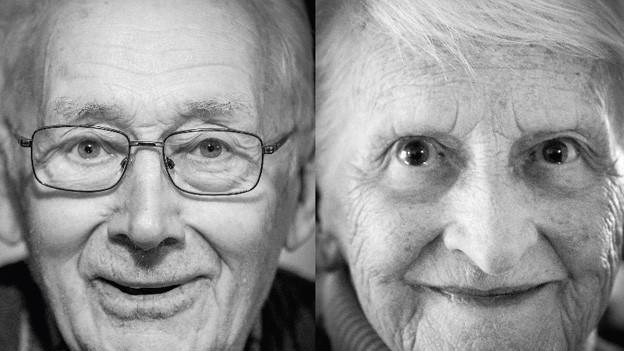 Nahaufnahme der Gesichter der beiden Senioren in schwarzweiss.