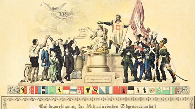 Nostalgische Illustration mit der Helvetia, die den Bürgern die Verfassung zeigt.