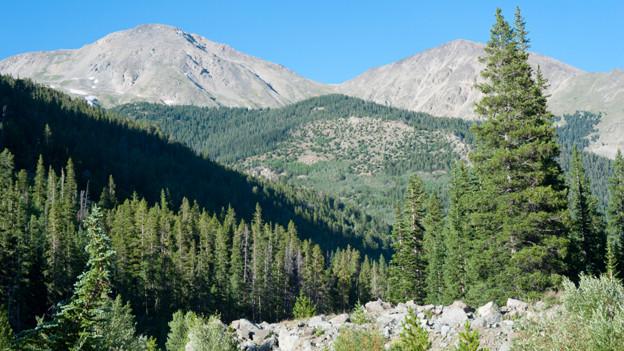 Naturlandschaft vor einem Bergmassiv.