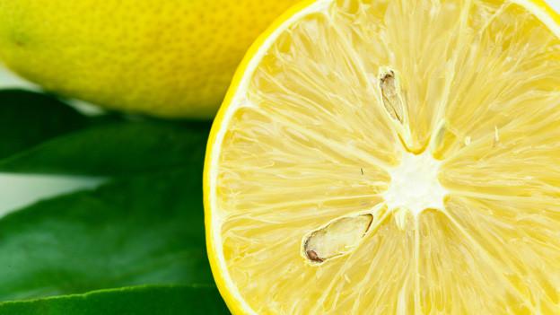 Zitrone angeschnitten mit Blattgrün im Hintergrund.