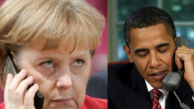 Collage von Merkel und Obama die beide telefonieren