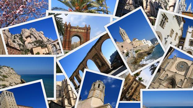 Kreuz und quer übereinander gelegte Postkarten mit spanischen Fotosujets.