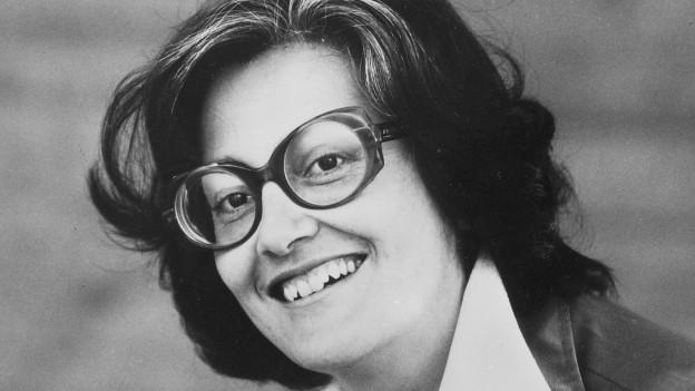 Elisabeth Schnell Aufnahme von 1980in Schwarzweiss.