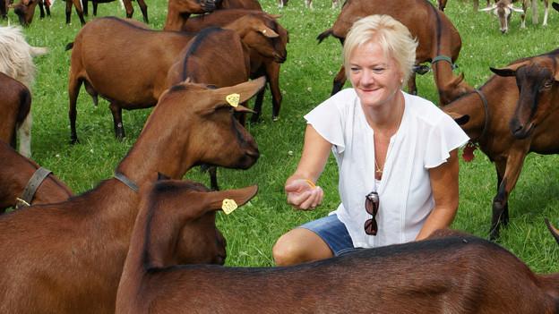 Alexandra Felder kniet auf einer Wiese in einem Geg voller brauner und beiger Ziegen.