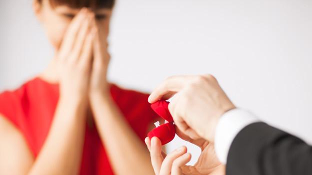 Verschwommen im Hintergrund eine Frau im roten Kleid, die überrascht die Hände vor dem Gesicht hat. Im Vordergrund zwei Männerhände, die in einer kleinen roten Schachtel einen Verlobungsring anbieten.