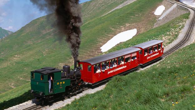Eine grüne Dampflokomotive treibt einen Zugkomposition mit zwei roten Wagen an.