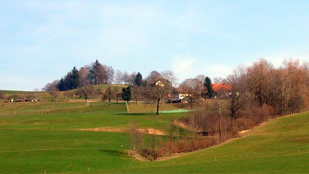 Landschaftsfotografie von einem Weiler mit wenig Häusern und viel Grünfläche.