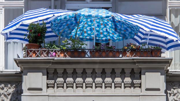 Auf einem Balkon einer Altbauwohnung stehen drei runde Sonnenschirme in blau-weiss Tönen.