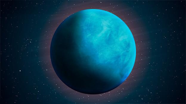 Der blaue Planet am dunklen Sternenhimmel.