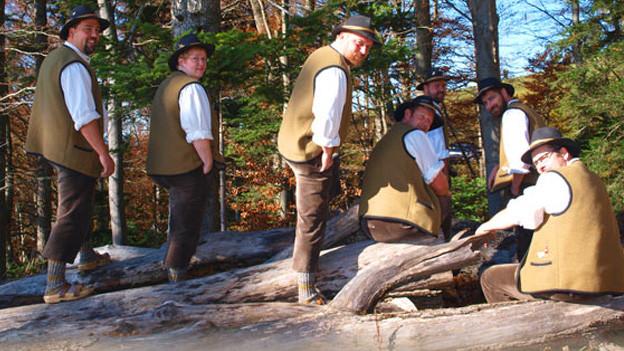 Gruppenbild mit Jodlerin und Jodlern vor und auf einem Baumstrunk an einer Strasse.