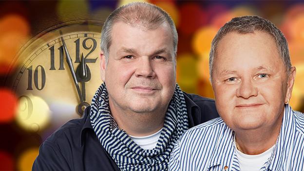 Fotocollage mit den Porträtfotos der beiden Moderatoren.