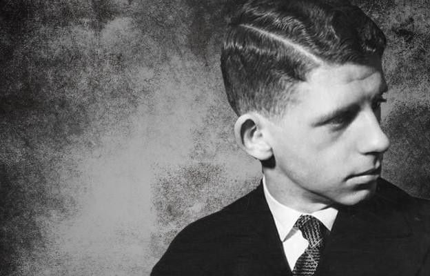 Collage mit einer Schwarz-Weiss Fotografie von Hans Vogt auf dunklem Hintergrund.