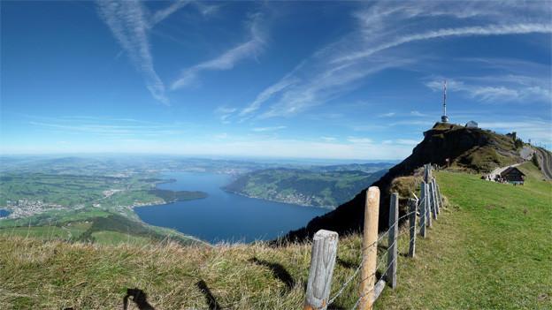 Panoramabild mit Rigi und See.