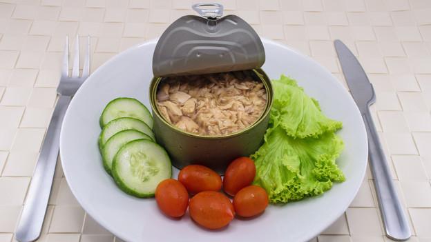Eine geöffnete Dose Thunfisch auf einem weissen Teller zusammen mit Gurken, Tomaten und Salat.