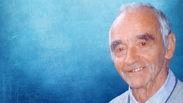Bildollage mit einem Porträt von Max Huggler auf blauem Hintergrund.