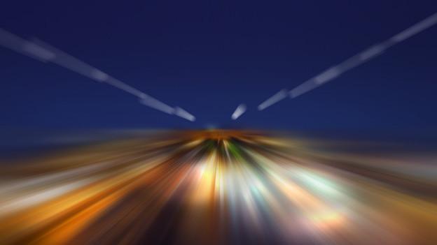 Ein abstraktes Bild, das vorgibt, wie man sich mit Lichtgeschwindigkeit von einem Ort zum anderen beamt.