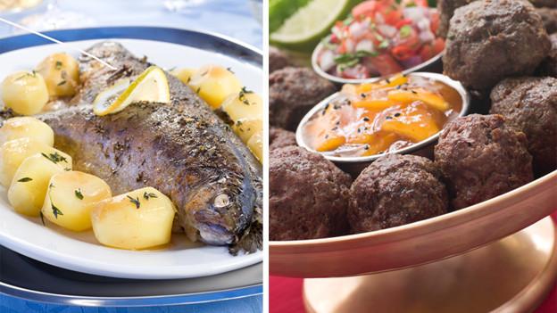 Fisch- und Fleischgericht Seite an Seite.