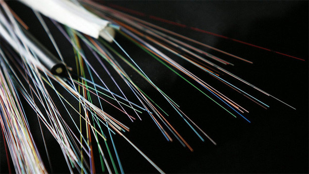 Aufgeschnittenes Kabel mit Glasfasern.