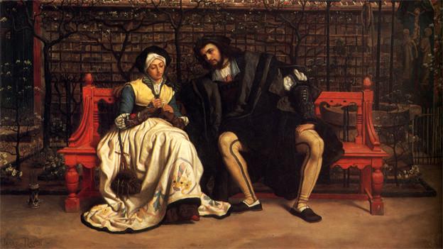 Gemälde mit dem Paar, das in einem Garten auf einer Bank sitzt.