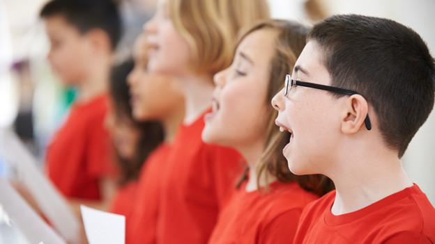 Mädchen und Buben in roten T-Shirts beim Schulsingen.
